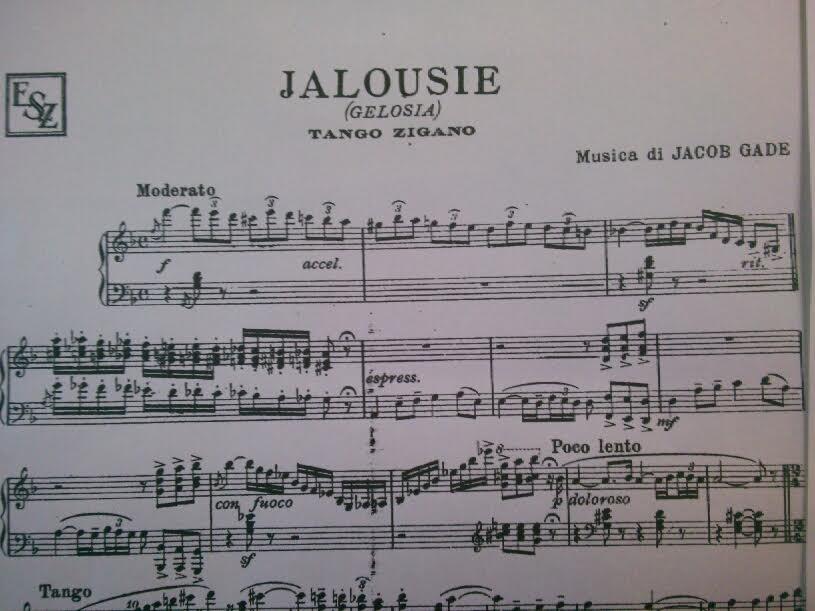 「ジェラシー」楽譜冒頭部分
