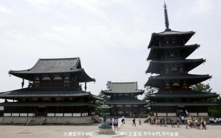 大講堂から金堂と五重塔と中門