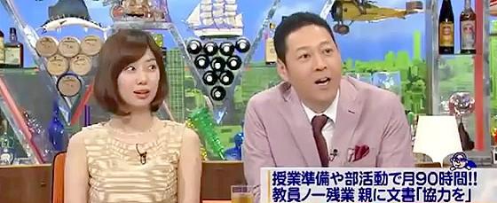 ワイドナショー画像 山崎夕貴アナ 東野幸治 日本の教員の長時間労働について尾木ママに質問 2015年7月12日