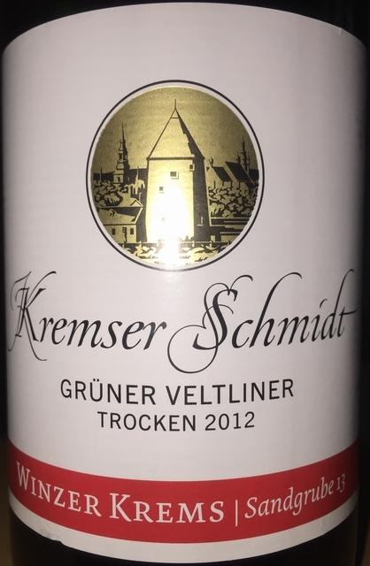 Kremser Schmidt Gruner Veltliner Trocken 2012