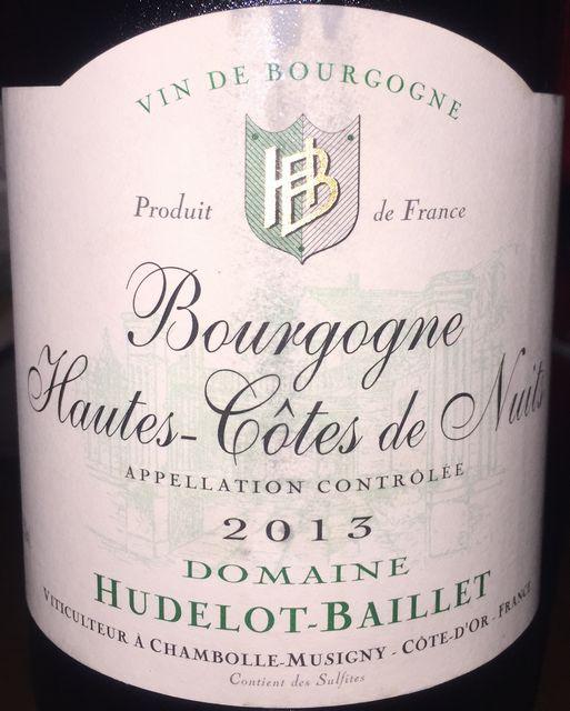 Bourgogne Hautes Cotes de Nuits Hudelot Baillet 2013