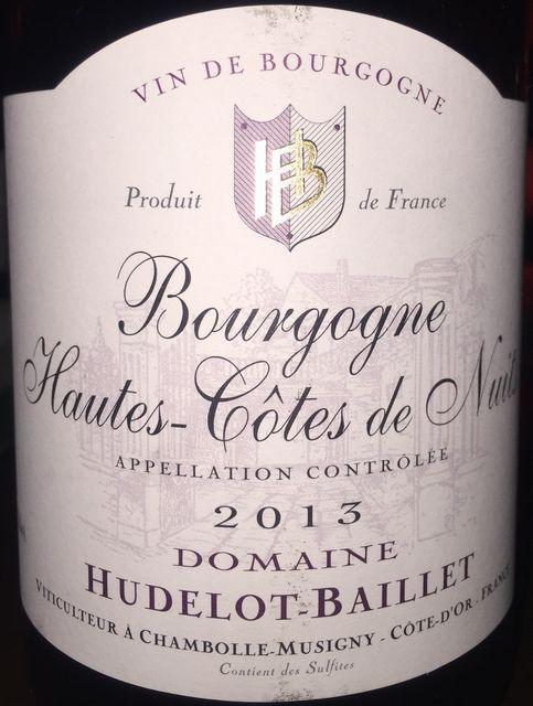 Bourgogne Hautes Cotes de Nuits Rouge Dudelot Baillet 2013