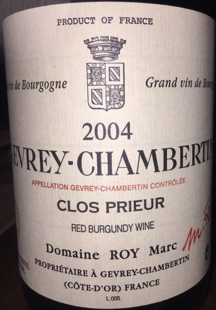 Gevrey Chambertin Clos Prieur Domaine Roy Marc 2004