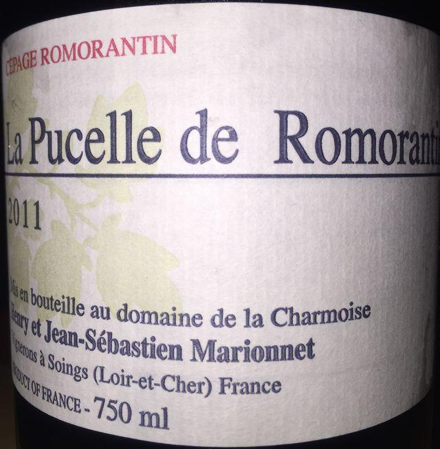 La Pucelle de Romorantin Henry Marionnet Domaine de la Charmoise 2011