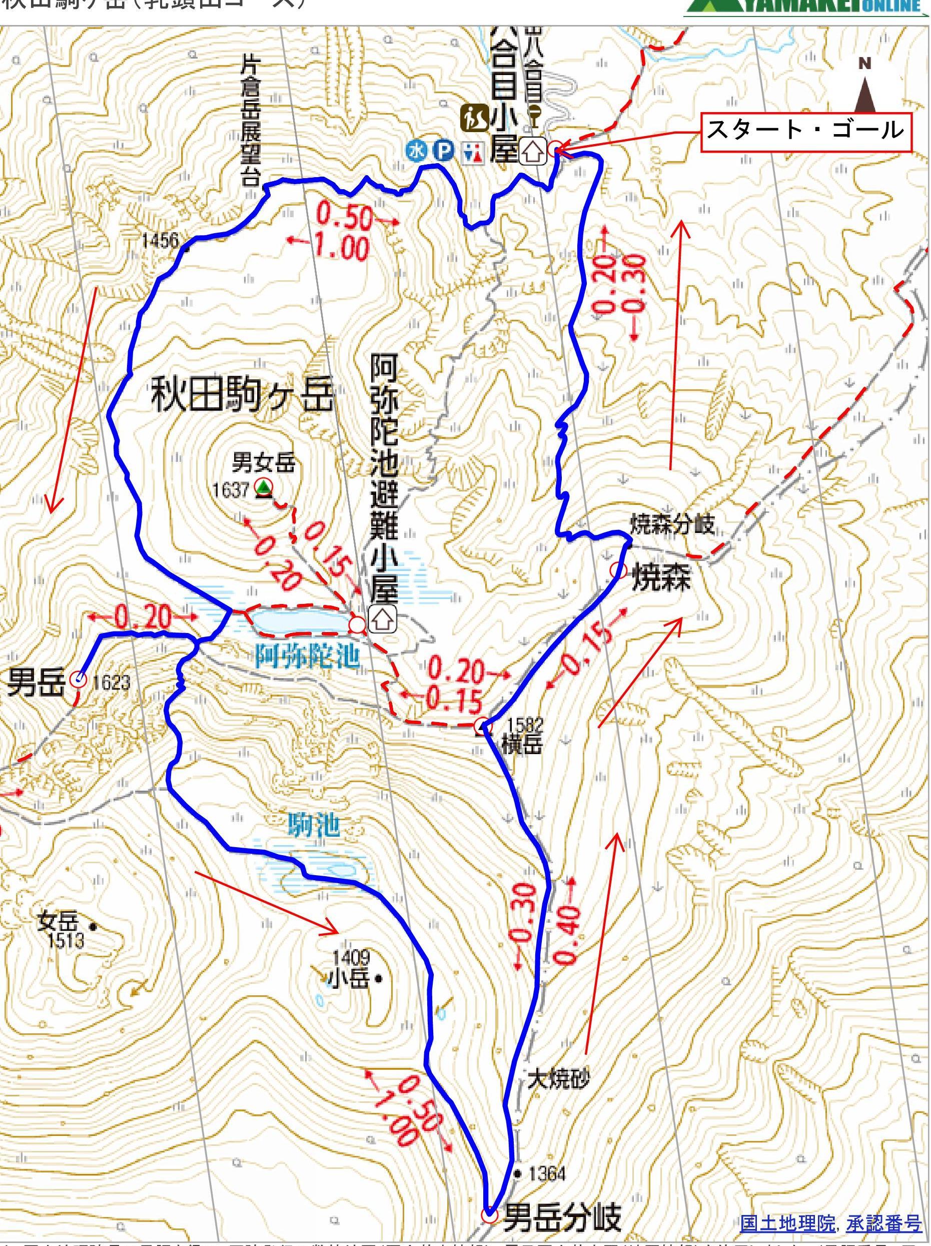 1-コースタイム&登山計画付き登山地図