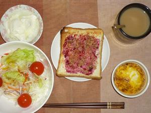 ブルーベリージャムトースト,サラダ(キャベツ、レタス、大根、トマト),玉葱と鶏ひき肉のココット,オリゴ糖入りヨーグルト,コーヒー