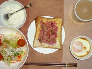 ブルーべリージャムトースト,サラダ,目玉焼き,オリゴ糖入りヨーグルト,コーヒー