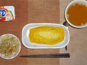 オムライス,もやしの蒸し炒め,コンソメスープ,ヨーグルト