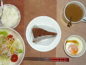 チョコレートケーキ,サラダ,目玉焼き,オリゴ糖入りヨーグルト,コーヒー