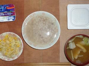 胚芽押麦入り五穀米粥,納豆,コールスロー,豚汁(人参、里芋、豚肉、ゴボウ、葱他),ヨーグルト