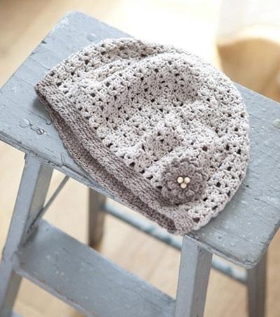 無料編み図プレゼント帽子あみもねっとコットンベレー帽