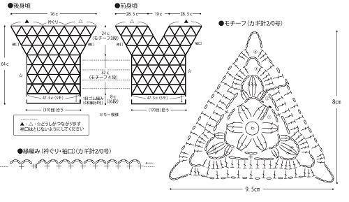 787ピエロビューティーシルクコットンUV三角モチーフセーター編み図