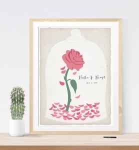 美女と野獣バラ花ウェディングツリーゲストブック