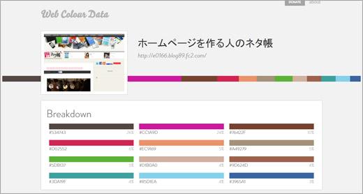 ウェブサイトの配色解析