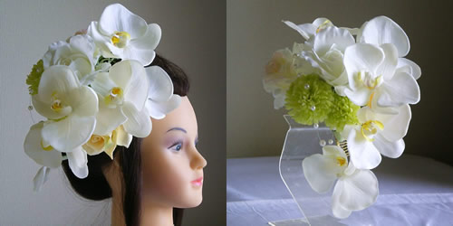 結婚式髪飾り・大輪胡蝶蘭とマムとローズ