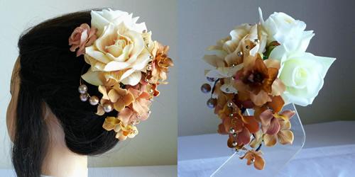 ベージュローズと紫陽花の和装髪飾り