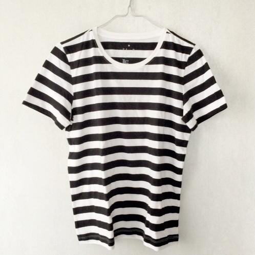 ... 無印良品のボーダーTシャツ。 わたしもつられて買ってきたよ☆ ↓これ。1000円。 お値段ステキ꒰*✪∀✪꒱♡