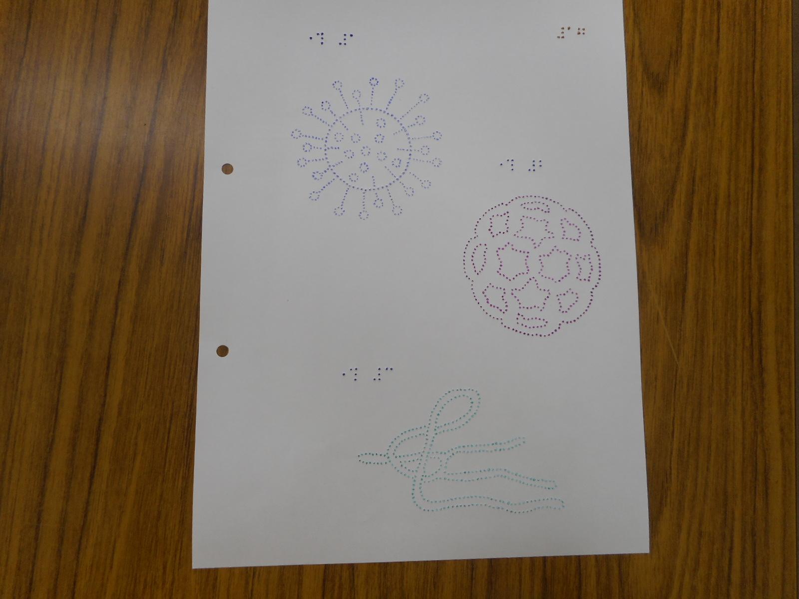 点字でウィルスの図が描かれています