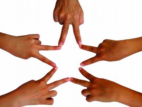 指でピース 星 チーム